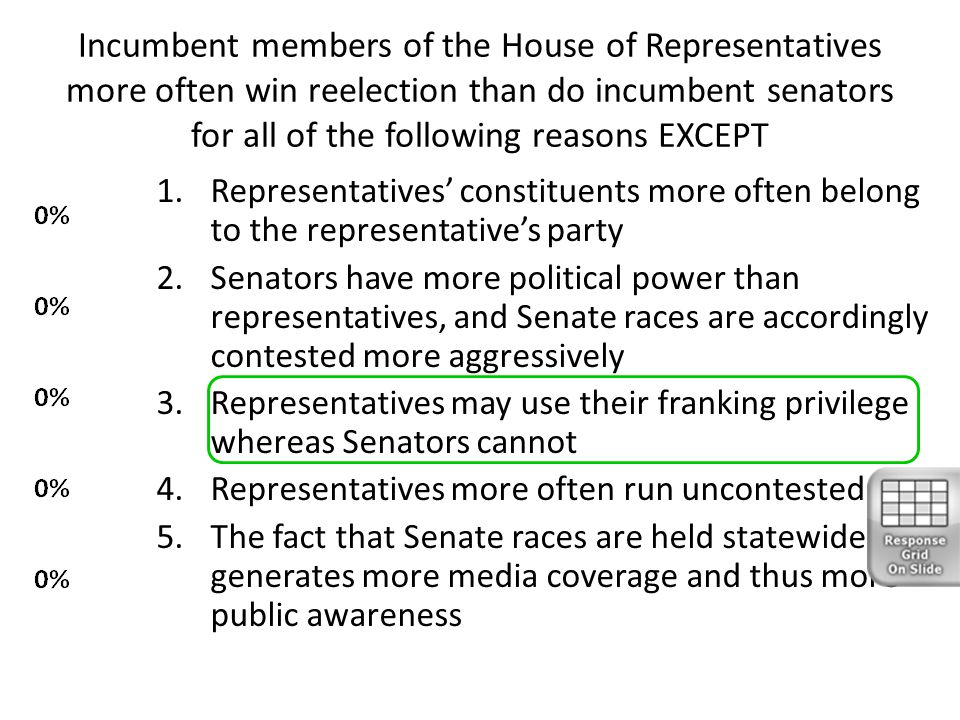 Incumbent members of the House of Representatives more often win reelection than do incumbent senators for all of the following reasons EXCEPT 1.Repre