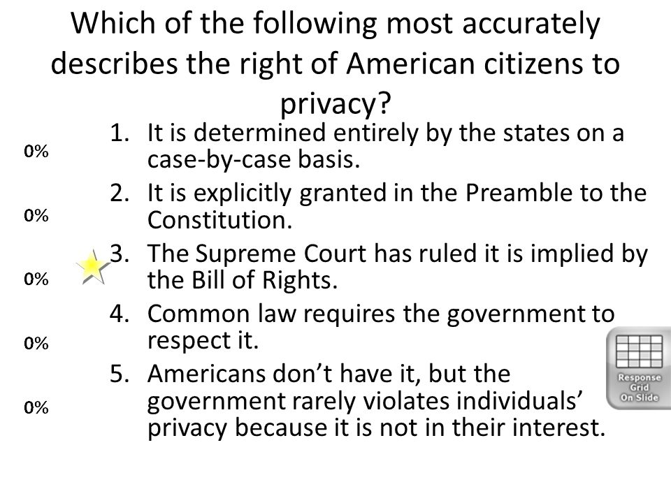 Which of the following most accurately describes the right of American citizens to privacy? 1.It is determined entirely by the states on a case-by-cas