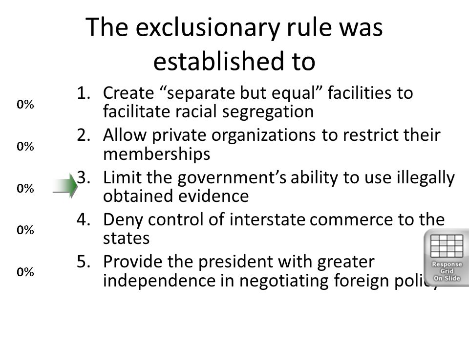 """The exclusionary rule was established to 1.Create """"separate but equal"""" facilities to facilitate racial segregation 2.Allow private organizations to re"""