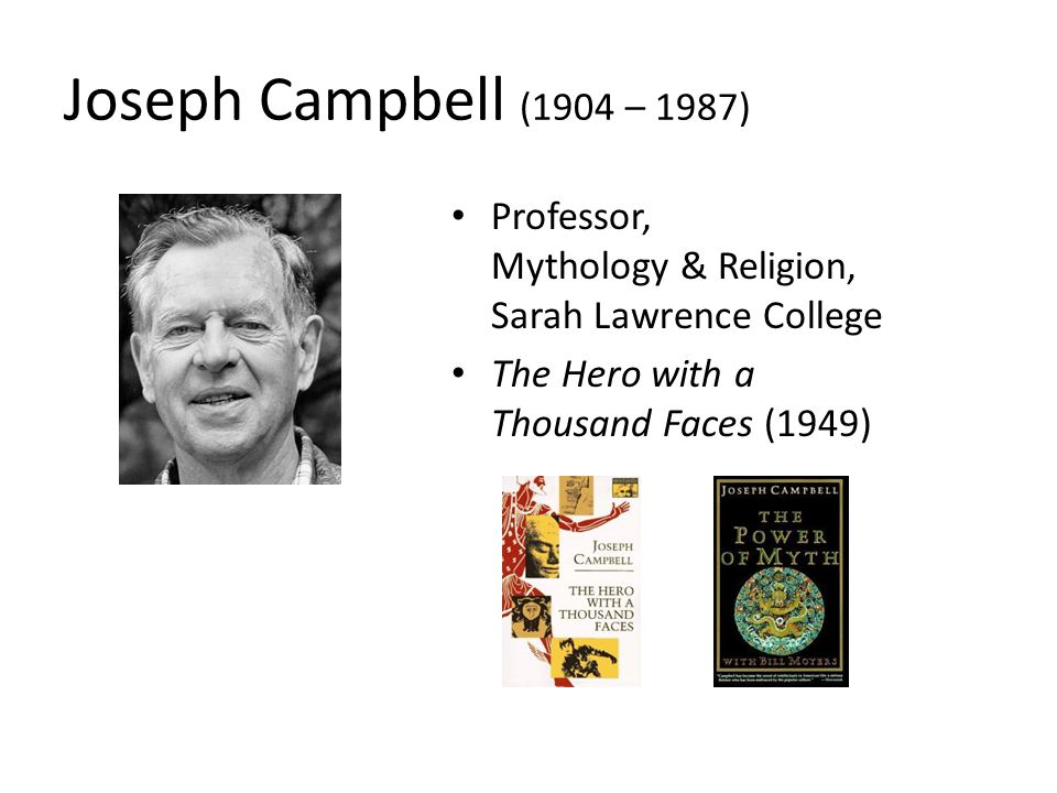 The Hero's Journey from Joseph Campbell's The Hero with a Thousand Faces (1949) The World of Common Day The Call to Adventure Refusal of the Call Supernatural Aid Crossing of the First Threshold Belly of the Whale Road of Trials Meeting with the Goddess Woman as the Temptress Atonement with the Father Apotheosis The Ultimate Boon Refusal of Return The Magic Flight Rescue from Without The Crossing of the Return Threshold Master of Two Worlds Freedom to Live