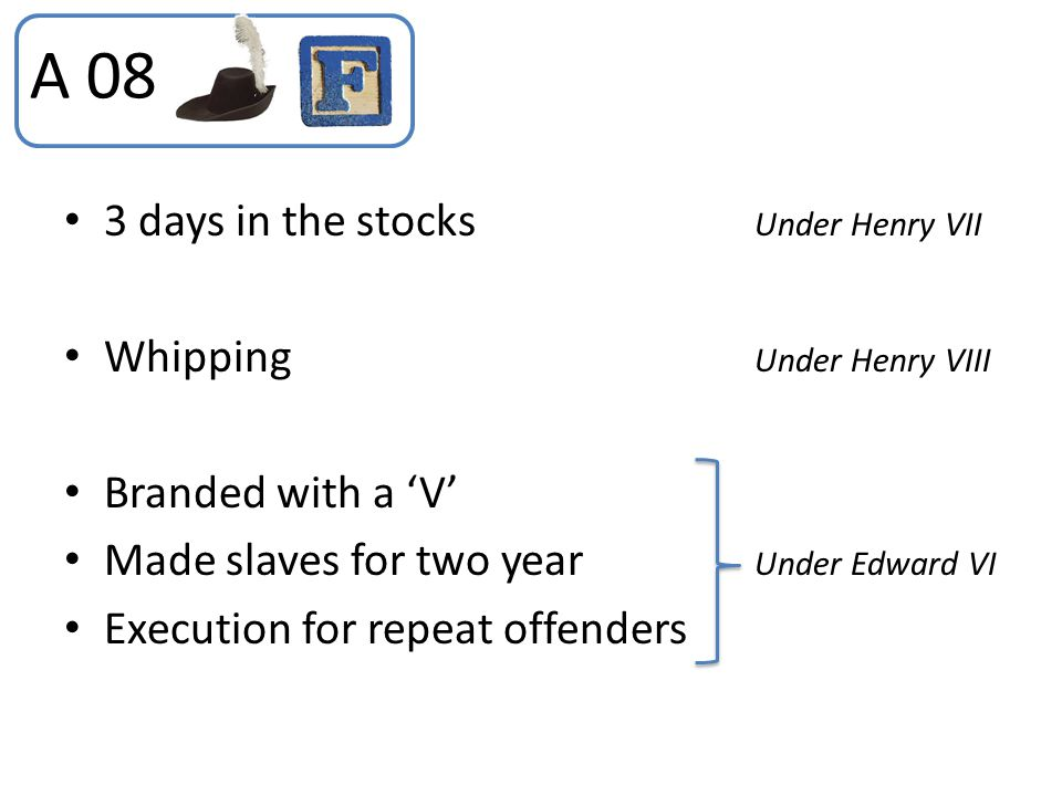 3 days in the stocks Under Henry VII Whipping Under Henry VIII Branded with a 'V' Made slaves for two year Under Edward VI Execution for repeat offend