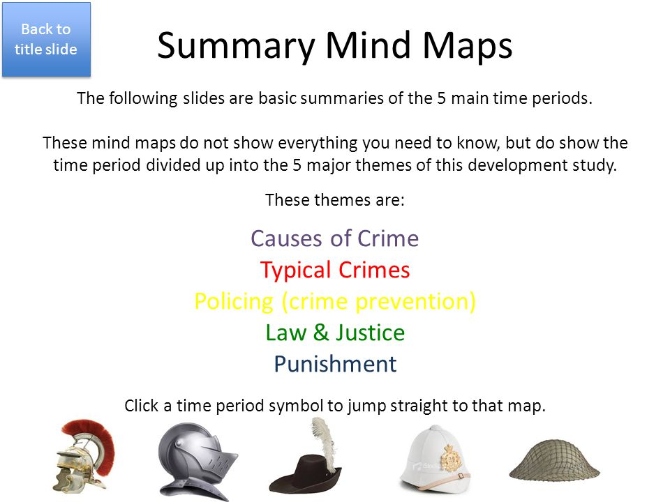 Summary Mind Maps The following slides are basic summaries of the 5 main time periods. These mind maps do not show everything you need to know, but do