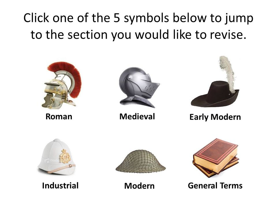 Click one of the 5 symbols below to jump to the section you would like to revise. Roman Modern Industrial Early Modern Medieval General Terms