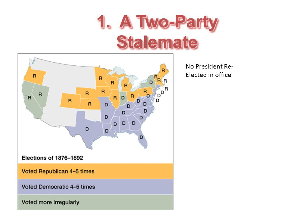1. A Two-Party Stalemate No President Re- Elected in office