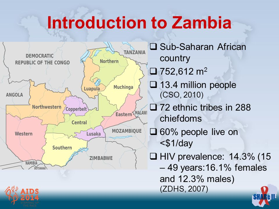 Introduction to Zambia  Sub-Saharan African country  752,612 m 2  13.4 million people (CSO, 2010)  72 ethnic tribes in 288 chiefdoms  60% people live on <$1/day  HIV prevalence: 14.3% (15 – 49 years:16.1% females and 12.3% males) (ZDHS, 2007)