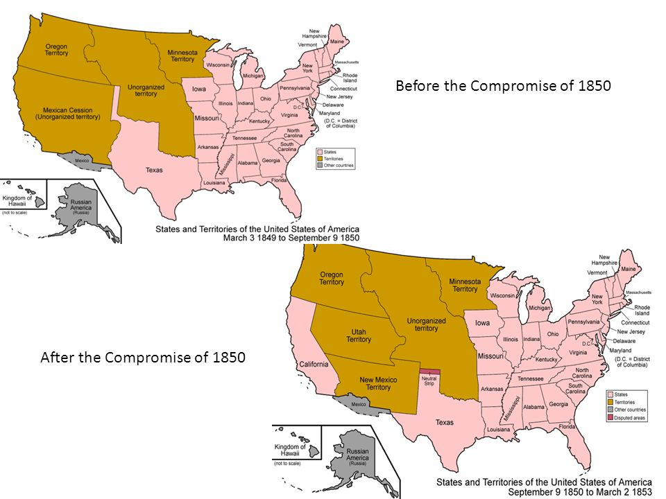 Before the Compromise of 1850 After the Compromise of 1850