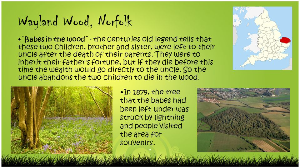 Wayland Wood, Norfolk ˝Babes in the wood˝ - the centuries old legend tells that these two children, brother and sister, were left to their uncle after the death of their parents.