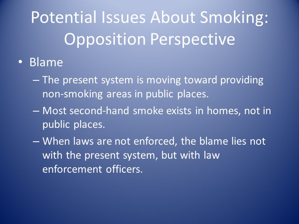 Potential Issues About Smoking: Opposition Perspective Blame – The present system is moving toward providing non-smoking areas in public places.