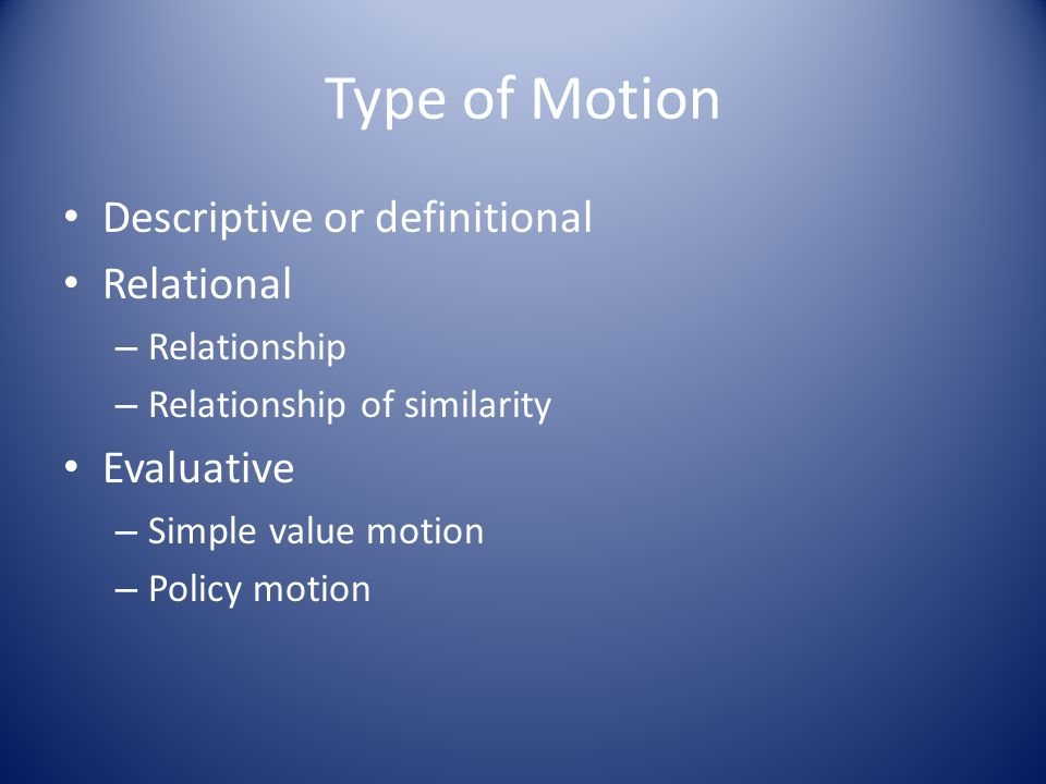 Definition and Interpretation Most motions can be defined and interpreted in different ways.