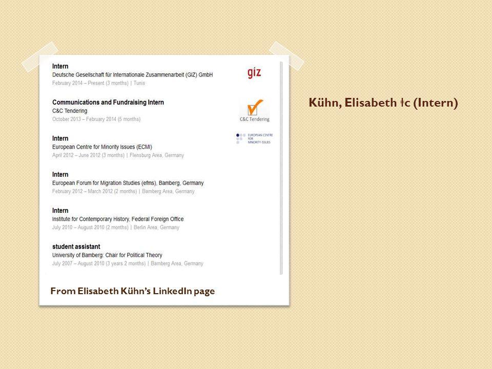 Kühn, Elisabeth ǂ c (Intern) From Elisabeth Kühn's LinkedIn page