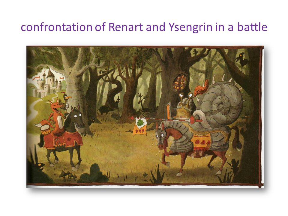 confrontation of Renart and Ysengrin in a battle