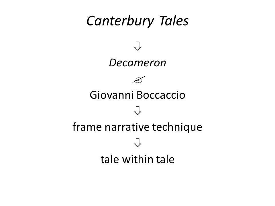 Canterbury Tales  Decameron  Giovanni Boccaccio  frame narrative technique  tale within tale