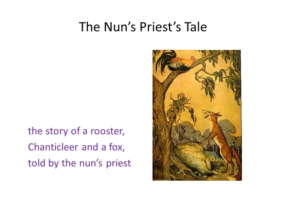 The Nun's Priest's Tale the story of a rooster, Chanticleer and a fox, told by the nun's priest