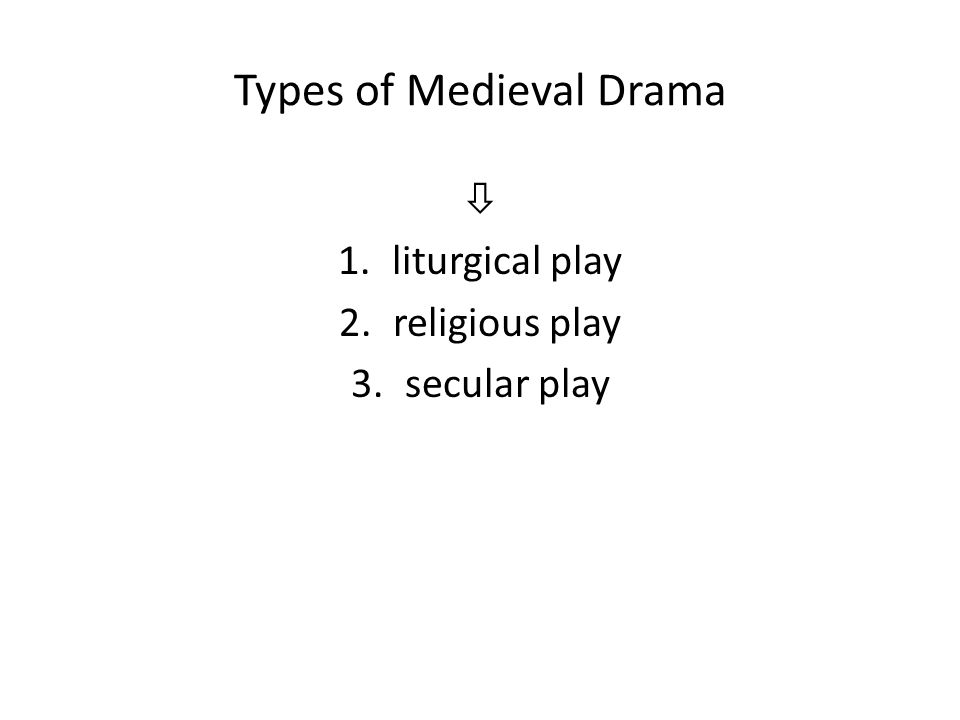 Types of Medieval Drama  1.liturgical play 2.religious play 3.secular play