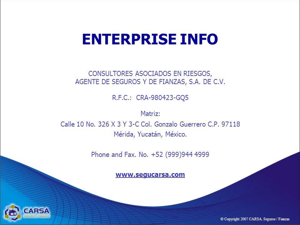 ENTERPRISE INFO CONSULTORES ASOCIADOS EN RIESGOS, AGENTE DE SEGUROS Y DE FIANZAS, S.A.