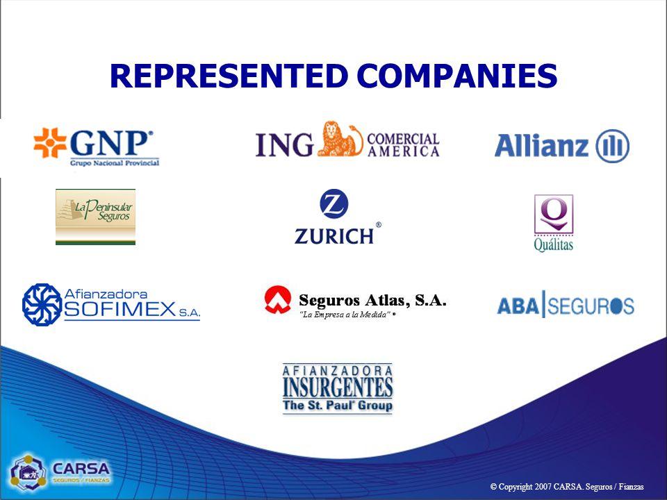 REPRESENTED COMPANIES © Copyright 2007 CARSA. Seguros / Fianzas