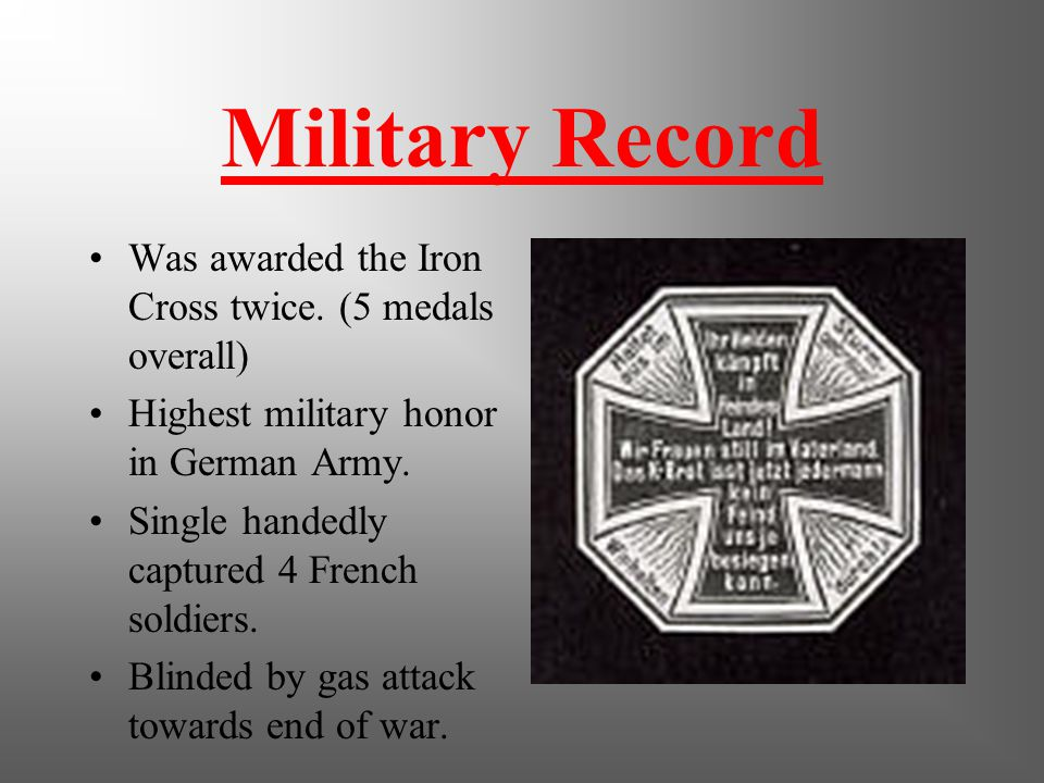 World War I Excited to fight for Germany. Found a home fighting for the Fatherland. Highest rank held was corporal. Was a regimental messenger, not an