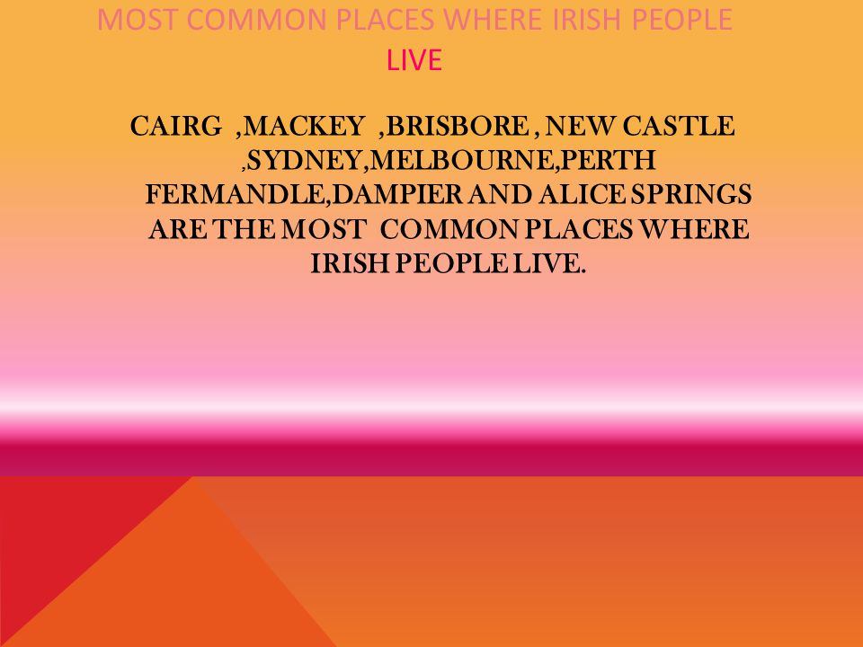 MOST COMMON PLACES WHERE IRISH PEOPLE LIVE CAIRG,MACKEY,BRISBORE, NEW CASTLE, SYDNEY,MELBOURNE,PERTH FERMANDLE,DAMPIER AND ALICE SPRINGS ARE THE MOST