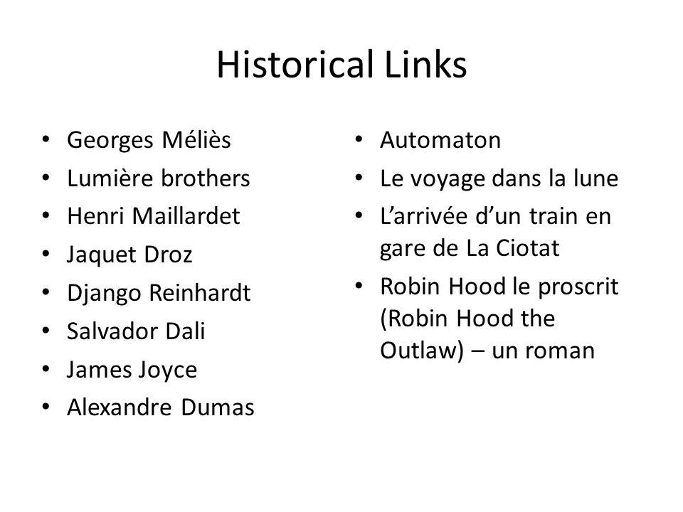 Historical Links Georges Méliès Lumière brothers Henri Maillardet Jaquet Droz Django Reinhardt Salvador Dali James Joyce Alexandre Dumas Automaton Le