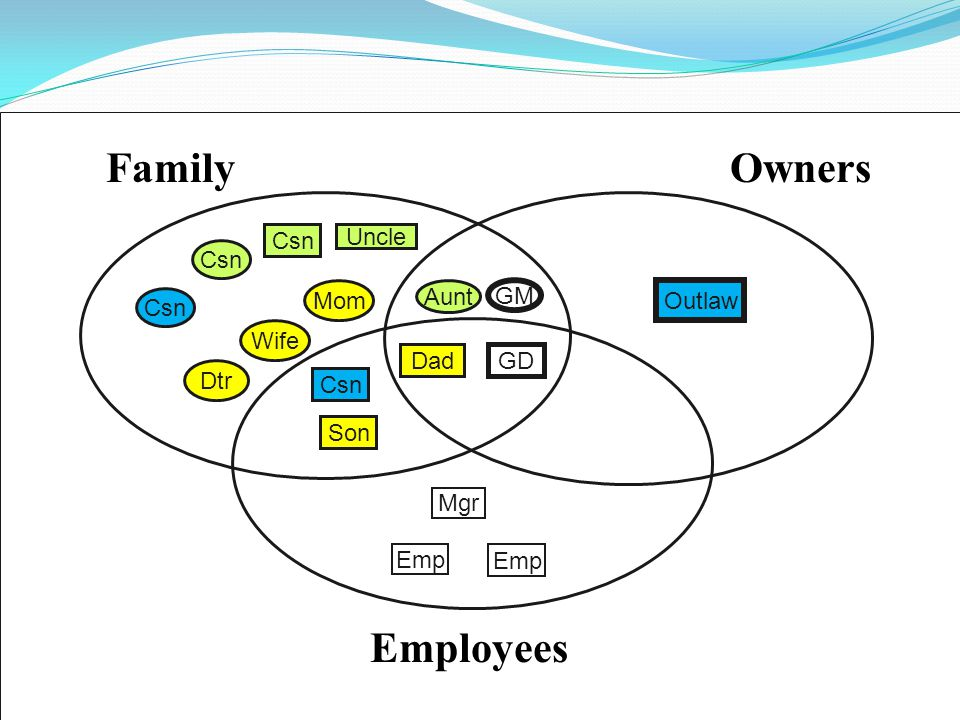 FamilyOwners Employees Emp Mgr Csn Mom Csn GM Dad GD Uncle Outlaw Son Aunt Wife Dtr Csn