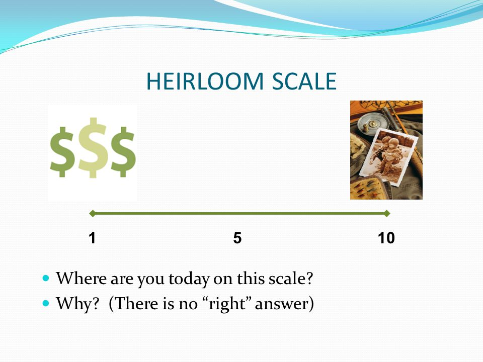 HEIRLOOM SCALE Where are you today on this scale Why (There is no right answer) 1105