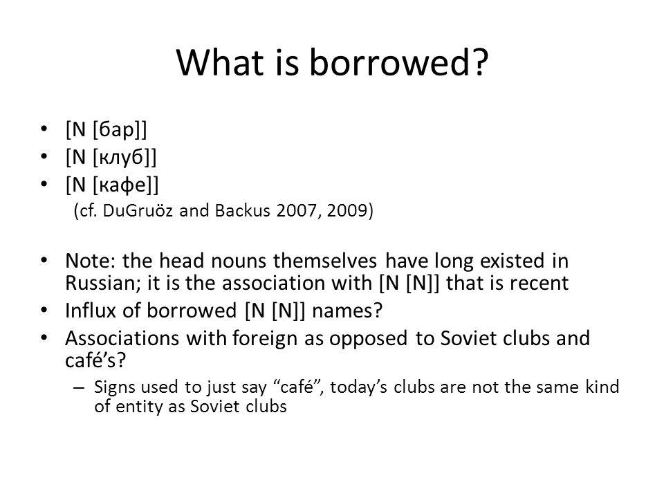 What is borrowed. [N [бар]] [N [клуб]] [N [кафе]] (cf.