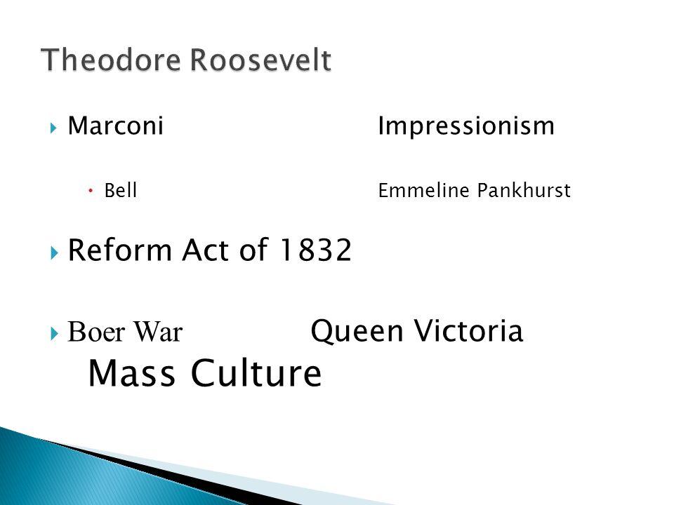  MarconiImpressionism  BellEmmeline Pankhurst  Reform Act of 1832  Boer War Queen Victoria Mass Culture