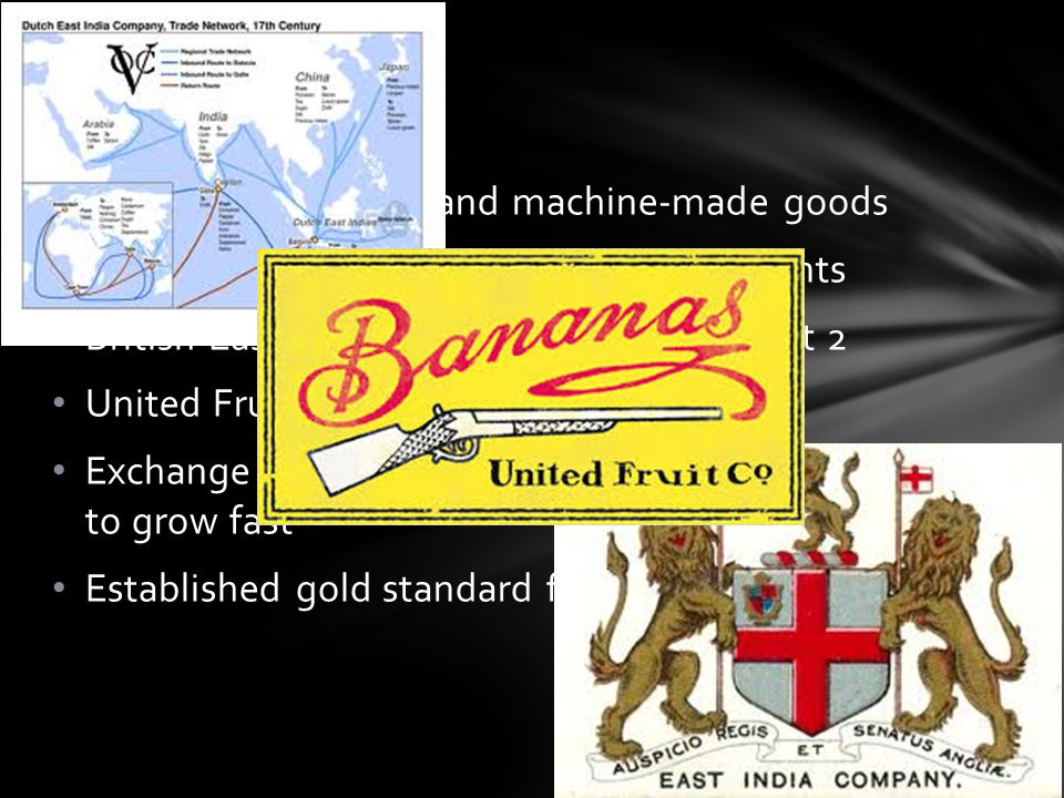 Global Markets demand machine-made goods Large banks loan $$ for foreign investments British East India & Dutch East India – first 2 United Fruit Corp
