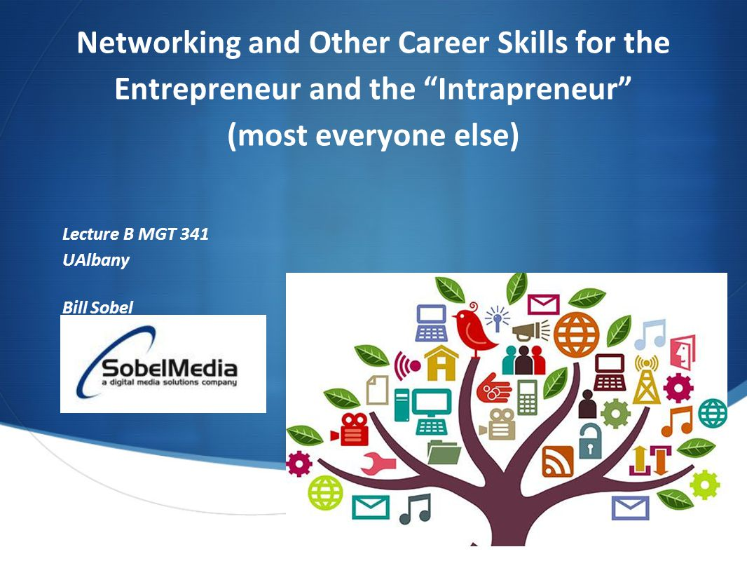 Networking and Other Career Skills for the Entrepreneur and the Intrapreneur (most everyone else) Lecture B MGT 341 UAlbany Bill Sobel