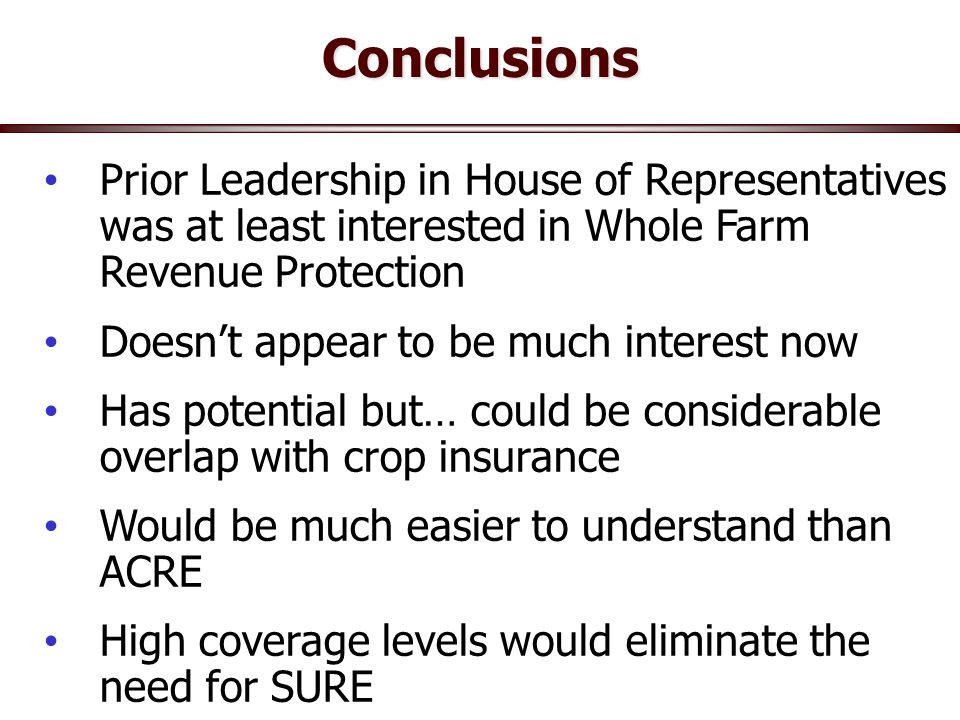 Conclusions Urban gardens/poultry Prior Leadership in House of Representatives was at least interested in Whole Farm Revenue Protection Doesn't appear