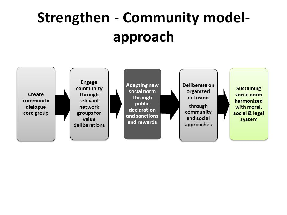 Strengthen - Community model- approach Create community dialogue core group Engage community through relevant network groups for value deliberations Adapting new social norm through public declaration and sanctions and rewards Deliberate on organized diffusion through community and social approaches Sustaining social norm harmonized with moral, social & legal system