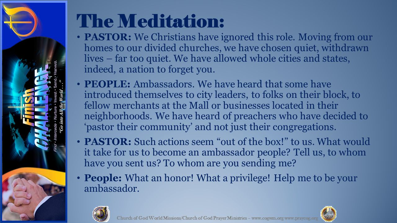 The Meditation: PASTOR: We Christians have ignored this role.