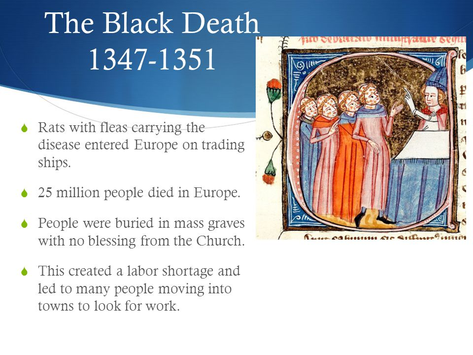 The Black Death 1347-1351  Rats with fleas carrying the disease entered Europe on trading ships.