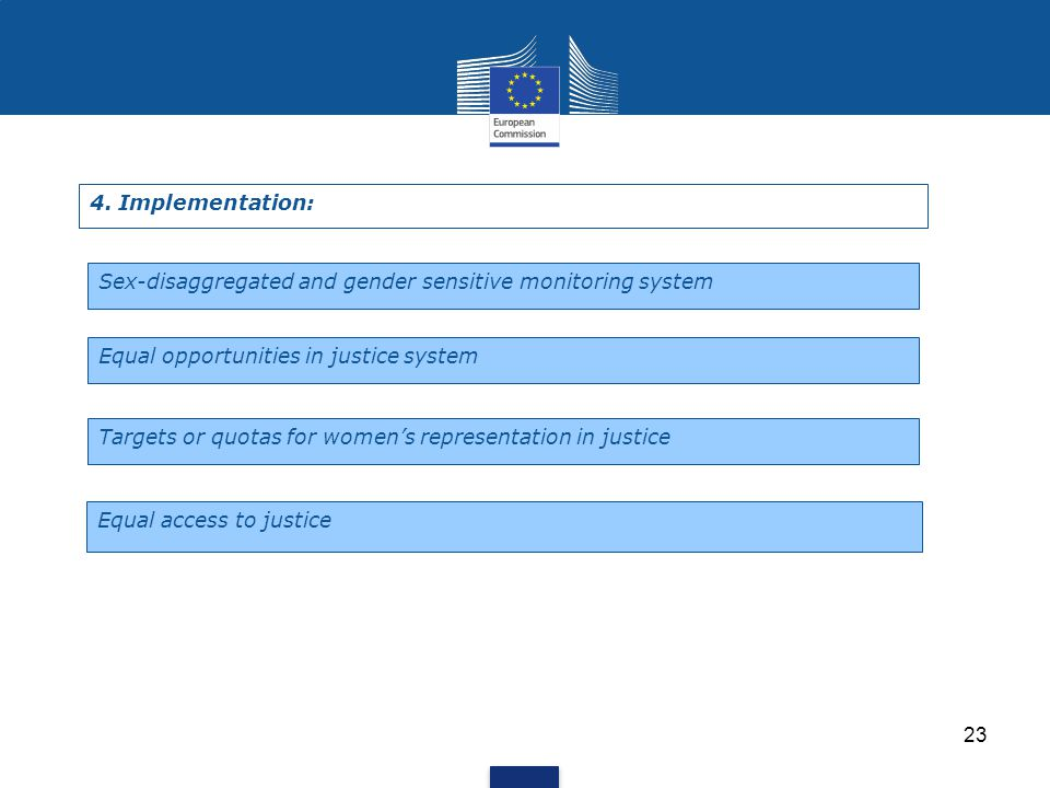 23 4. Implementation: Sex-disaggregated and gender sensitive monitoring system Equal opportunities in justice system Targets or quotas for women's rep