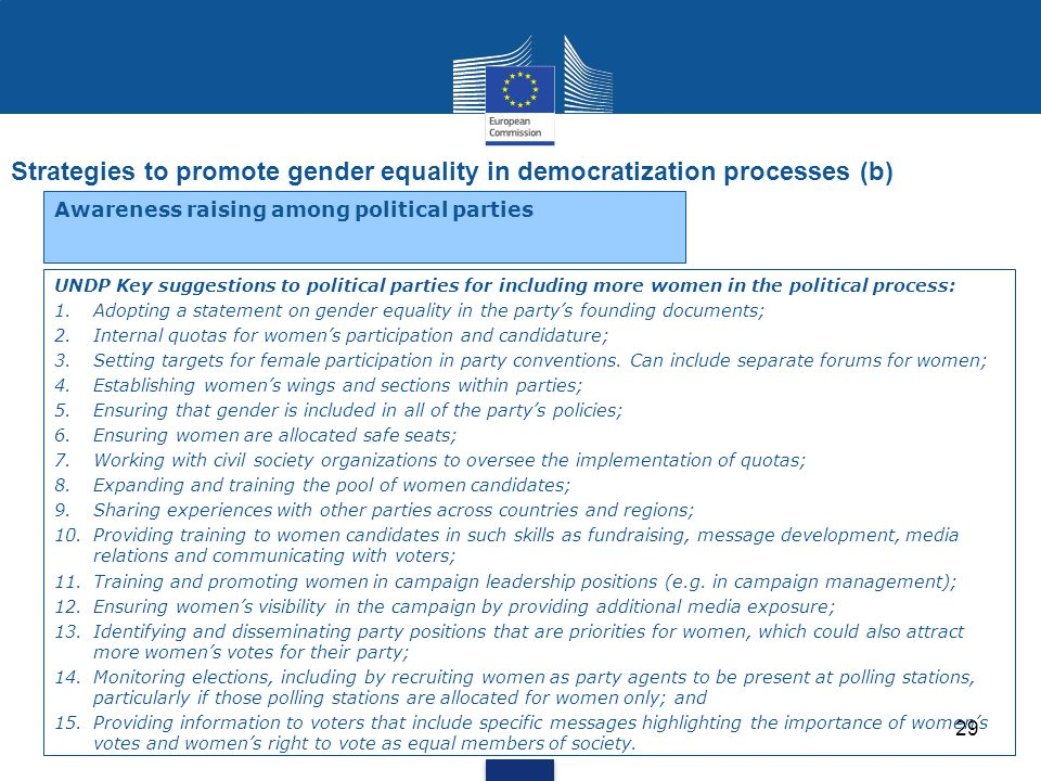 Strategies to promote gender equality in democratization processes (b) 29 Awareness raising among political parties UNDP Key suggestions to political