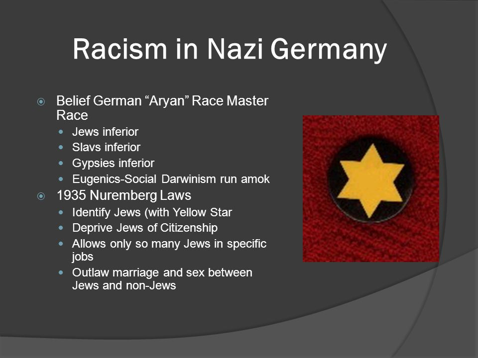 Racism in Nazi Germany  Belief German Aryan Race Master Race Jews inferior Slavs inferior Gypsies inferior Eugenics-Social Darwinism run amok  1935 Nuremberg Laws Identify Jews (with Yellow Star Deprive Jews of Citizenship Allows only so many Jews in specific jobs Outlaw marriage and sex between Jews and non-Jews