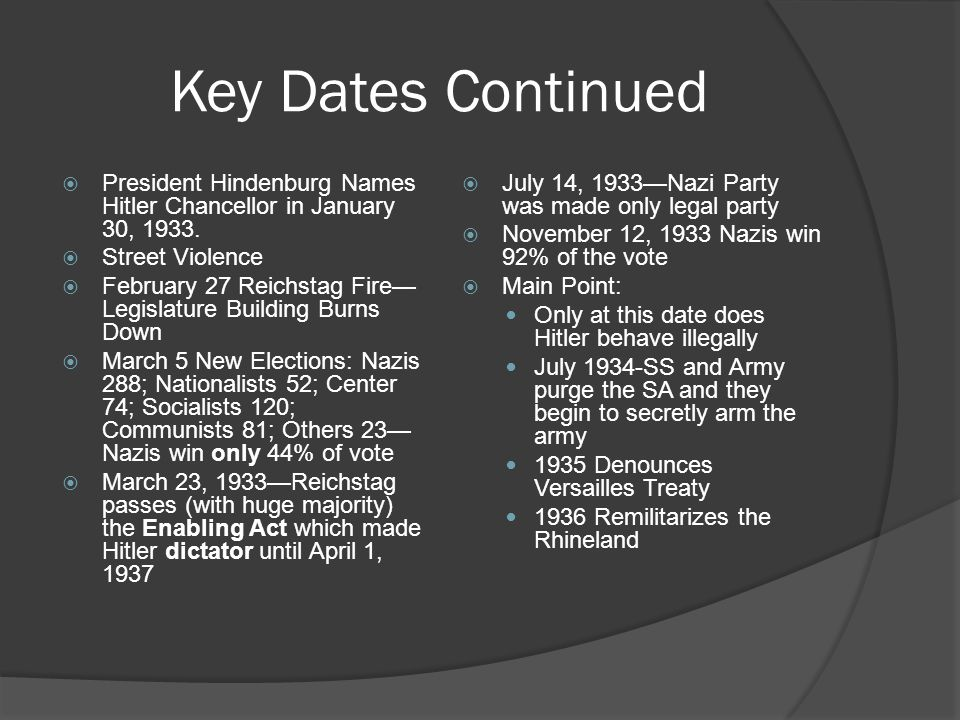 Key Dates Continued  President Hindenburg Names Hitler Chancellor in January 30, 1933.