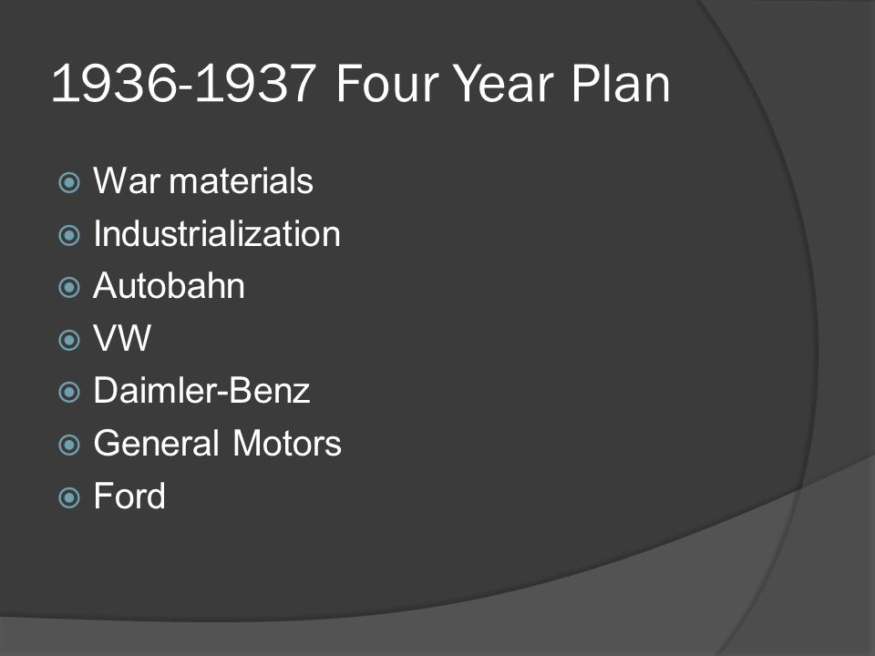 1936-1937 Four Year Plan  War materials  Industrialization  Autobahn  VW  Daimler-Benz  General Motors  Ford