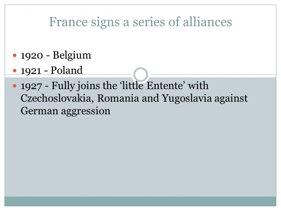 France signs a series of alliances 1920 - Belgium 1921 - Poland 1927 - Fully joins the 'little Entente' with Czechoslovakia, Romania and Yugoslavia ag