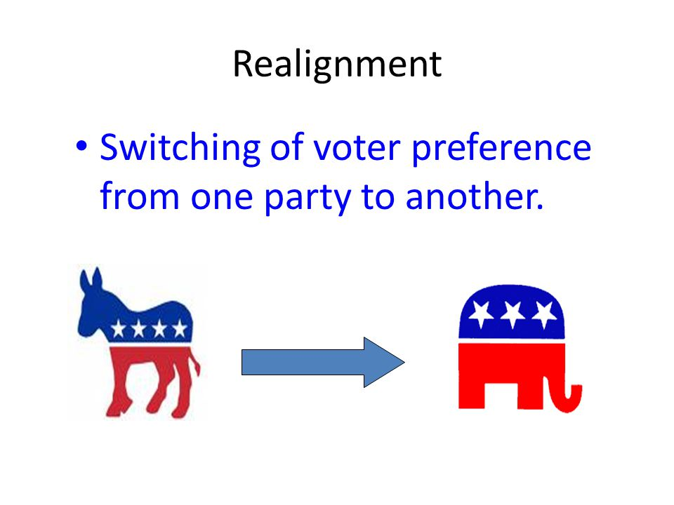 Realignment Switching of voter preference from one party to another.