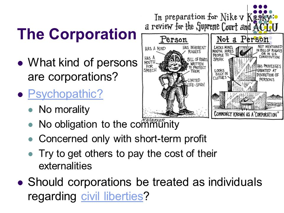 The Corporation What kind of persons are corporations.