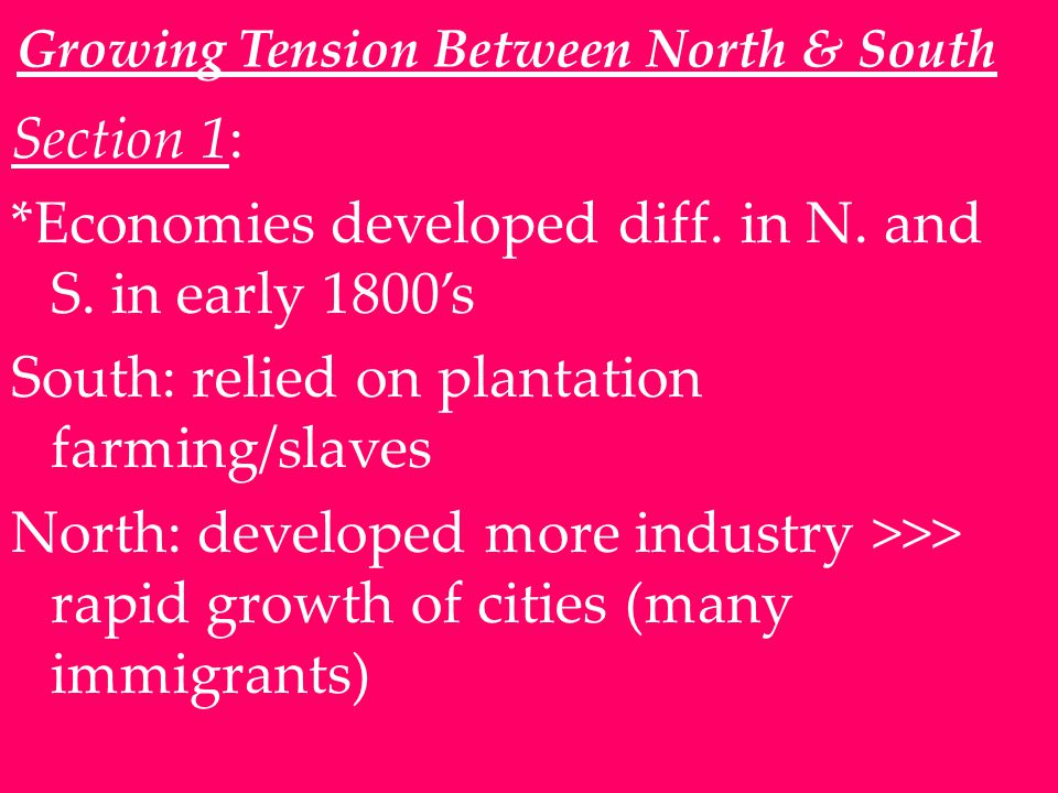 Growing Tension Between North & South Section 1: *Economies developed diff.