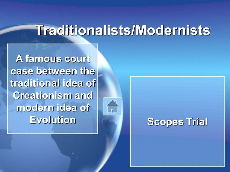 Traditionalists/ModernistsTraditionalists/Modernists A famous court case between the traditional idea of Creationism and modern idea of Evolution Scopes Trial
