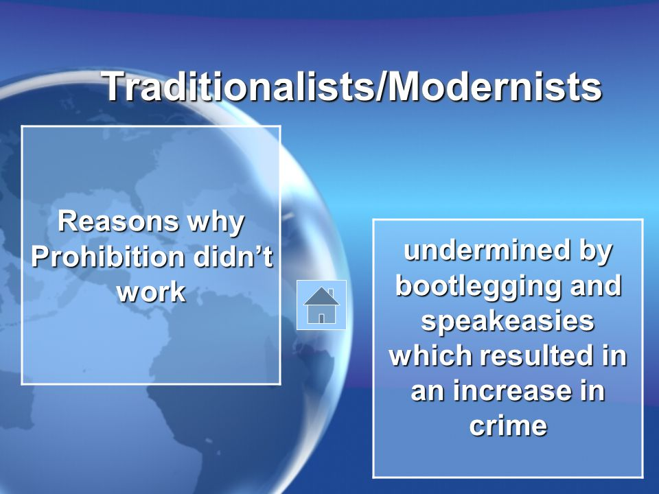 Traditionalists/ModernistsTraditionalists/Modernists Reasons why Prohibition didn't work undermined by bootlegging and speakeasies which resulted in an increase in crime
