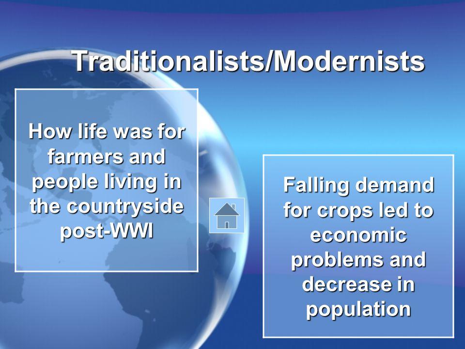Traditionalists/ModernistsTraditionalists/Modernists How life was for farmers and people living in the countryside post-WWI Falling demand for crops led to economic problems and decrease in population