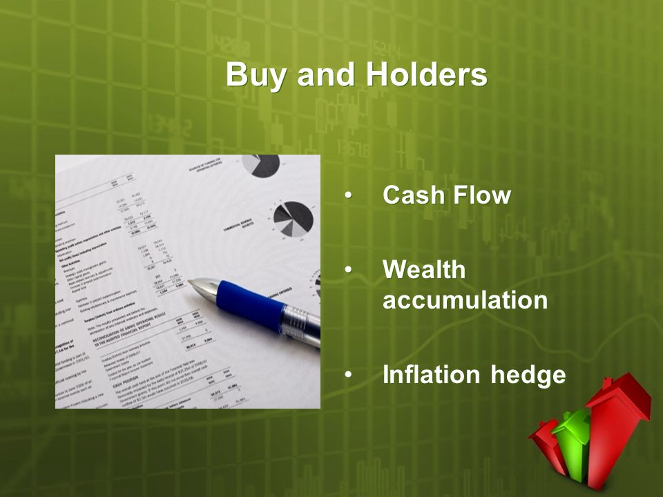 Buy and Holders Cash Flow Wealth accumulation Inflation hedge Cash Flow Wealth accumulation Inflation hedge
