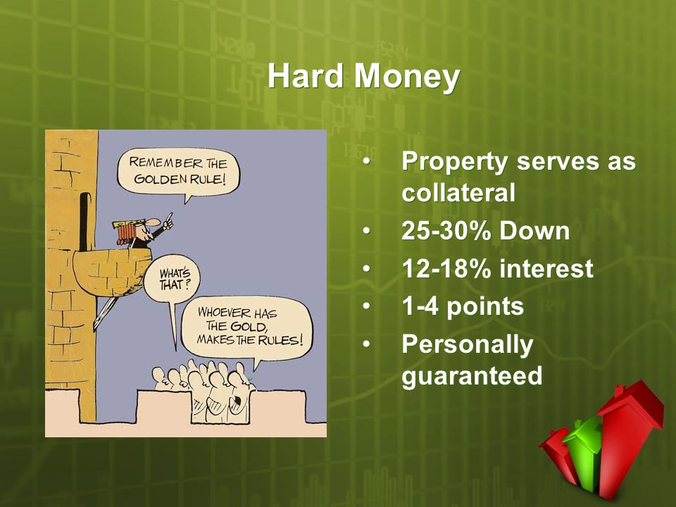Hard Money Property serves as collateral 25-30% Down 12-18% interest 1-4 points Personally guaranteed Property serves as collateral 25-30% Down 12-18%