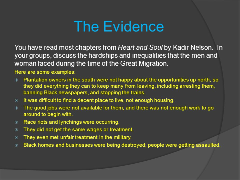 The Causes Why did the Great Migration happen.