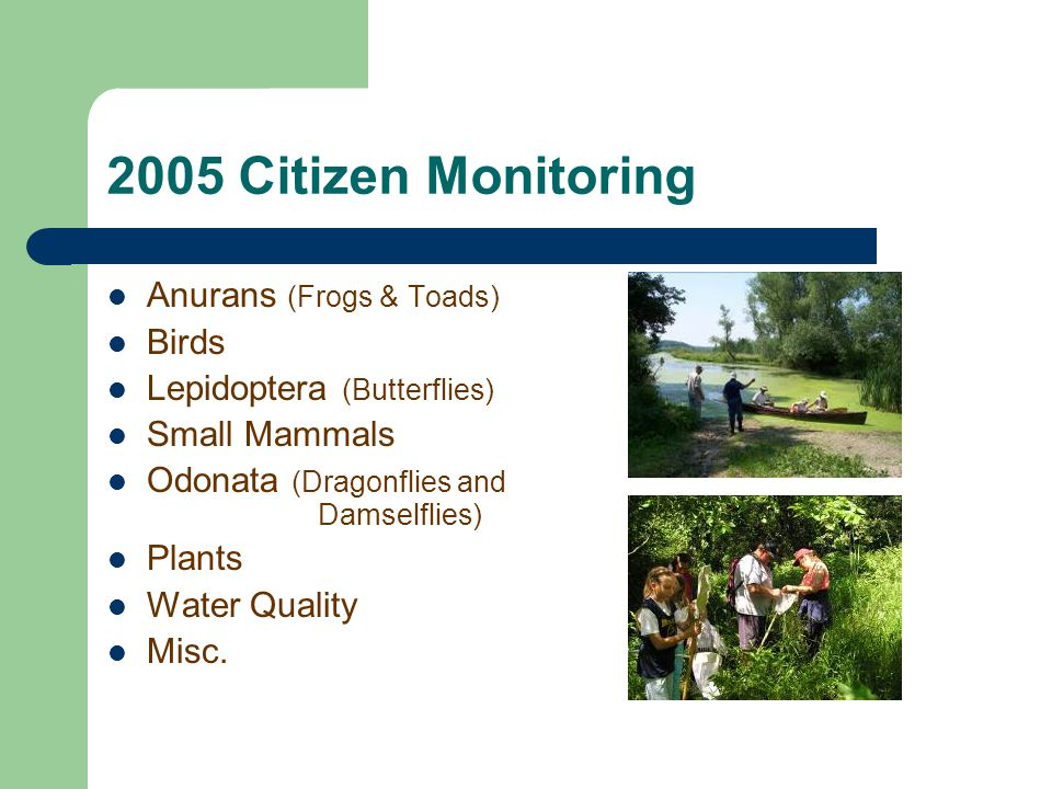 2005 Citizen Monitoring Anurans (Frogs & Toads) Birds Lepidoptera (Butterflies) Small Mammals Odonata (Dragonflies and Damselflies) Plants Water Quality Misc.