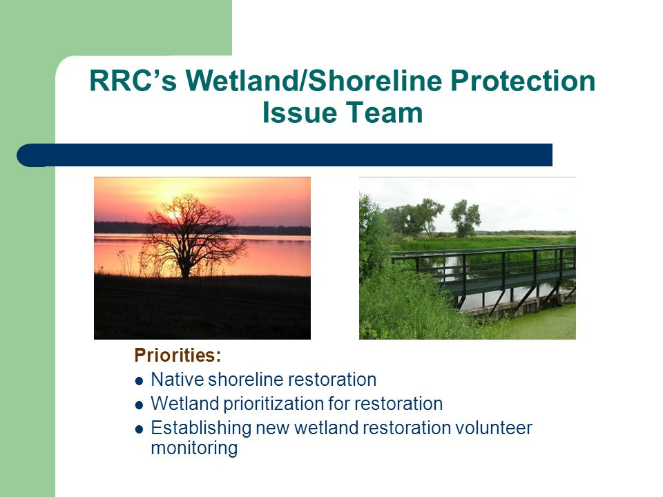 RRC's Wetland/Shoreline Protection Issue Team Priorities: Native shoreline restoration Wetland prioritization for restoration Establishing new wetland restoration volunteer monitoring